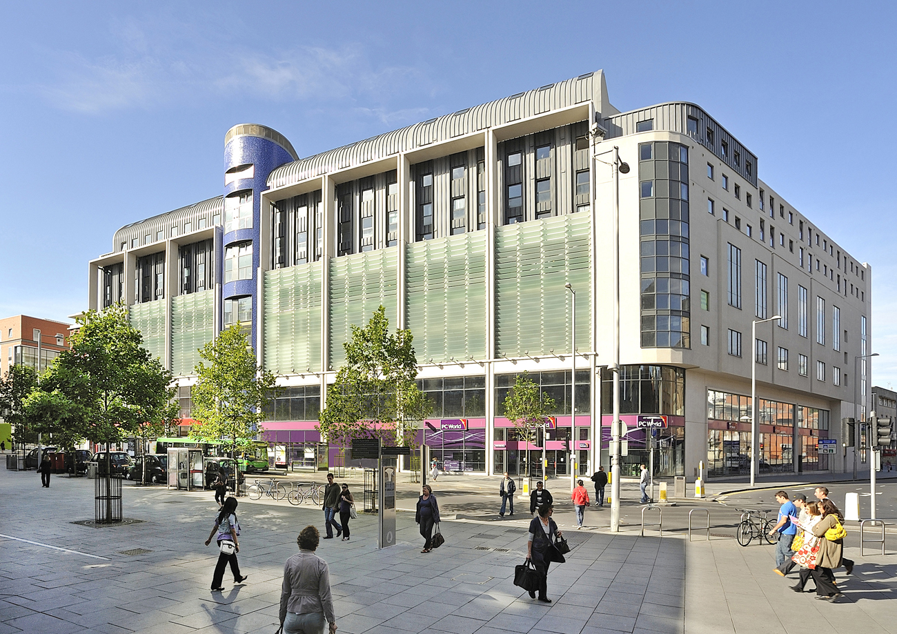 Trinity Square Nottingham Project Helical Bar Client Haskoll Ltd Exterior Front Side Elevation Trees Pedestrian